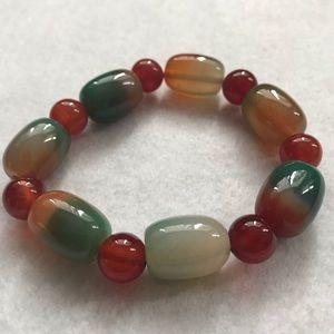 Multi color dyed jade bracelet